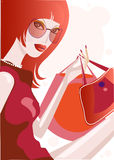 Pretty girl with shopping bags. Cute illustration of a girl in red dress Stock Image