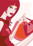 Pretty girl with shopping bags. Cute illustration of a girl in red dress Royalty Free Stock Photos