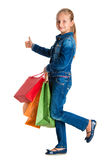 Pretty girl with shopping bags Stock Images