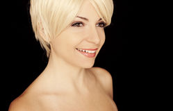 Pretty girl with short blond hair Stock Photo