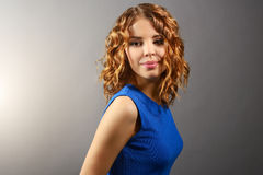 Pretty girl with short curly hair Royalty Free Stock Photos
