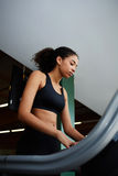 Pretty girl in short sexy topic using a treadmill in the gym Royalty Free Stock Photography
