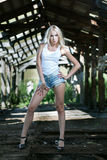 Pretty girl in shorts Stock Photography