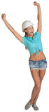 Pretty girl in shorts, shirt and white helmet Royalty Free Stock Photo