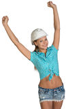 Pretty girl in shorts, shirt and white helmet Royalty Free Stock Photos