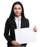 Pretty girl showing a blank banner Stock Photo