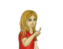 Pretty girl showing the gesture thumbs up.  Portrait of a woman Royalty Free Stock Images