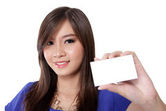 Pretty girl showing a multifunctional card Stock Image