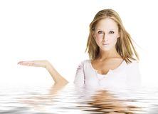 Pretty girl showing something Royalty Free Stock Photos