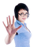 Pretty girl shows stop gesture Stock Photo