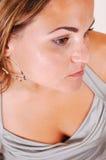 Pretty girl in silver dress. Stock Photo