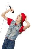 Pretty girl sings karaoke isolated on white Stock Photo