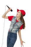 Pretty girl sings karaoke isolated on white Stock Images