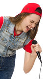 Pretty girl sings karaoke isolated on white Royalty Free Stock Photos