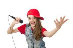 Pretty girl sings karaoke isolated on white Stock Photos