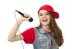 Pretty girl sings karaoke isolated on the white Royalty Free Stock Images