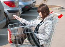 Pretty girl sits in a cart Royalty Free Stock Images