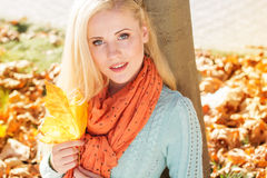 Pretty girl is sitting in autumn park with maple Stock Image