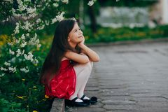 Pretty girl sitting under the cherry tree Royalty Free Stock Photo