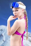 Pretty girl skier Stock Images