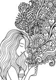 Pretty girl smell the floral coffee smoke for design element and adult or kids coloring book pages. Vector illustration. royalty free illustration