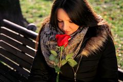 Pretty girl smells red rose and enjoys the scent.  Stock Photos