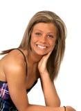 Pretty girl smiling over white Stock Photos