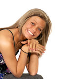 Pretty girl smiling over white Royalty Free Stock Photo
