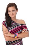 Pretty girl smiling in stripy blouse. Looking at camera royalty free stock photo