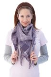 Pretty girl smiling wearing scarf Stock Photography