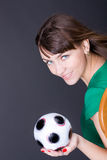 Pretty girl with soccer ball Royalty Free Stock Images