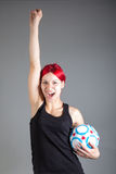 Pretty girl with soccer ball. Portrait of pretty girl with soccer ball stock photos