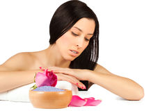 Pretty woman in the spa salon. isolated Royalty Free Stock Photo