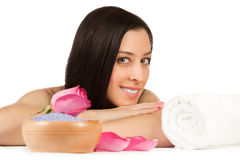 Cute woman in the spa salon. isolated Stock Photography