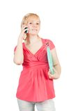 Pretty girl speak by phone Royalty Free Stock Photography