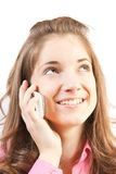 Pretty girl speak by phone Stock Images