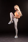Pretty girl sprained foot by rope. Caucasian fitness girls, isol Royalty Free Stock Photos