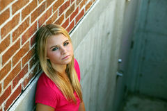 Pretty girl in stairwell Royalty Free Stock Photos