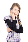 Pretty Girl Standing with Folded Hands Talking on the Mobile Phone and Smiling at Camera Stock Photos