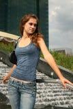 Pretty girl standing near fountain Royalty Free Stock Photo