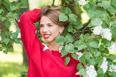 Pretty girl standing in park. Young charming smiling woman in red sweater with stars standing in branches with white flowers in green park at sunny day Royalty Free Stock Photo