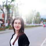 Pretty Girl in the Street Royalty Free Stock Image