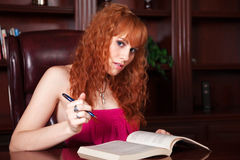 Pretty Girl Studying Royalty Free Stock Photo