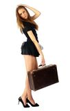 Pretty girl with suitcase Royalty Free Stock Photos