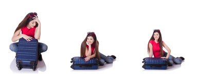 The pretty girl with suitcase isolated on white Stock Image