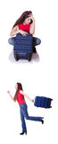 The pretty girl with suitcase isolated on white Royalty Free Stock Photography