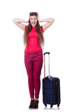 Pretty girl with suitcase  on white Stock Photography