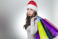 Pretty girl sulking while out Christmas shopping Stock Photos