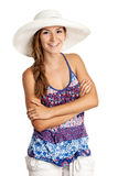 Pretty girl in summer clothing smiling brightly Royalty Free Stock Photography