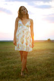 Pretty girl in a summer field Royalty Free Stock Image